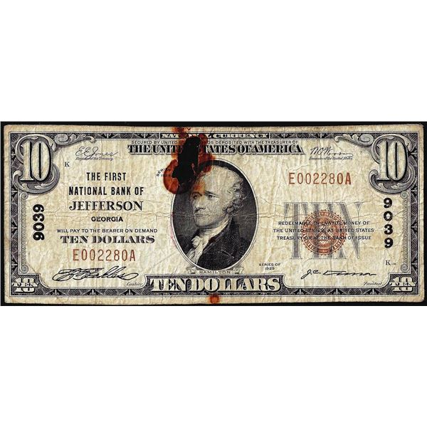 1929 $10 The First NB of Jefferson, GA CH# 9039 National Currency Note