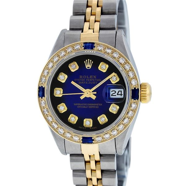 Rolex Ladies Two Tone Diamond & Sapphire Oyster Perpetual Datejust Wristwatch