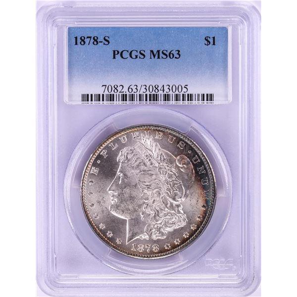 1878-S $1 Morgan Silver Dollar Coin PCGS MS63 Nice Toning