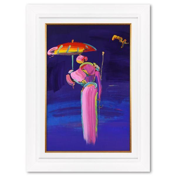 "Peter Max ""Umbrella Man With Cane"" Original Mixed Media On Paper"