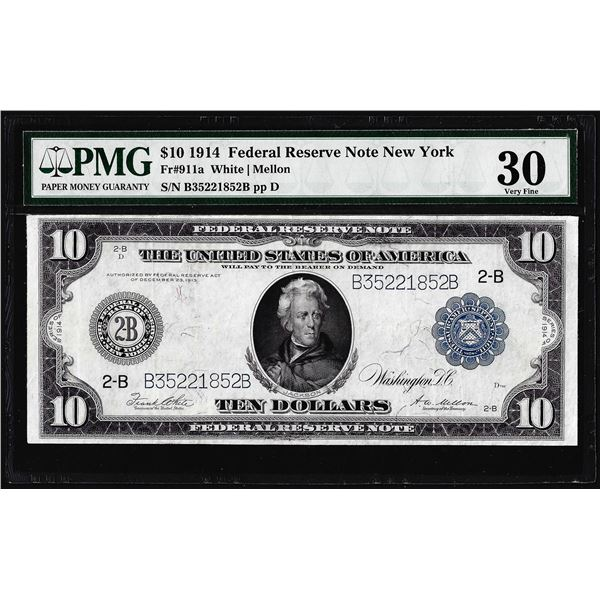 1914 $10 Federal Reserve Note New York Fr.911a PMG Very Fine 30