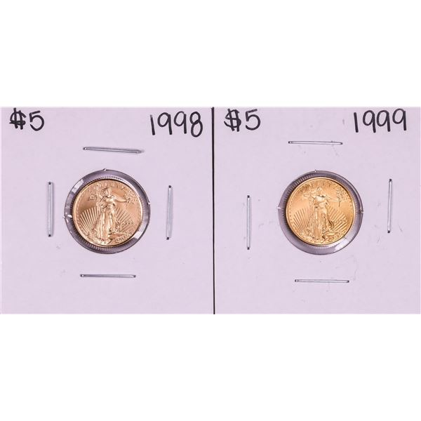 Lot of 1998-1999 $5 American Gold Eagle Coins
