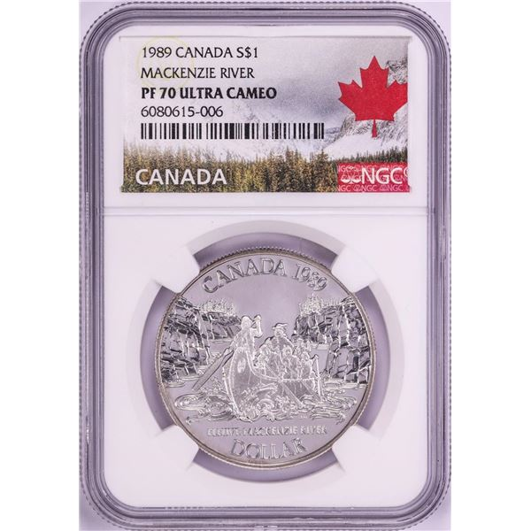 1989 $1 Proof Canada Mackenzie River Silver Dollar Coin NGC PF70 Ultra Cameo