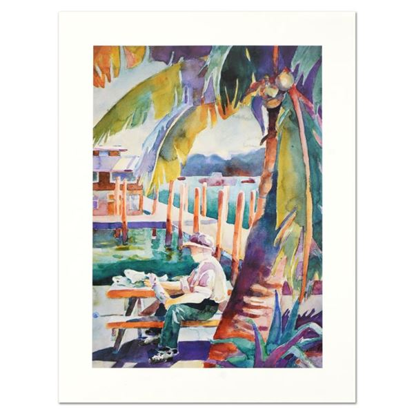 """Sissi Janku """"Dockside Catch"""" Limited Edition Lithograph On Paper"""