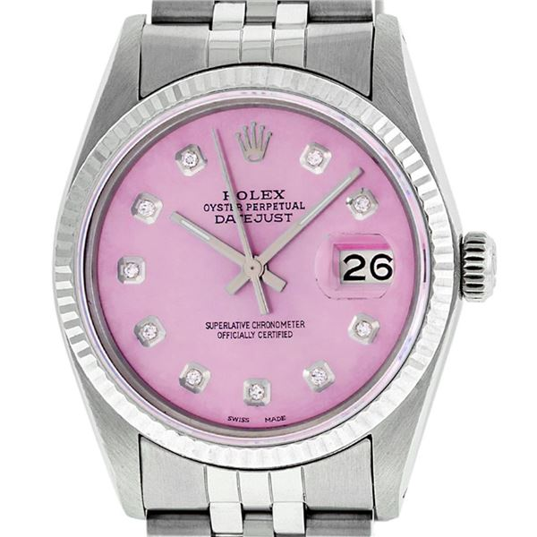 Rolex Men's Stainless Steel Pink Diamond Oyster Perpetual Datejust Wristwatch