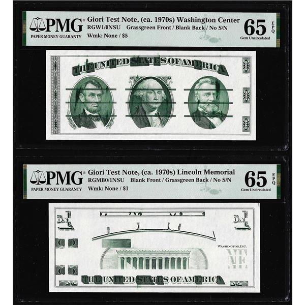 Set of Giori Test Note Washington & Lincoln Memorial PMG Gem Uncirculated 65EPQ