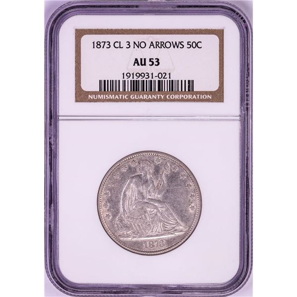 1873 Closed 3 No Arrows Seated Liberty Half Dollar Coin NGC AU53