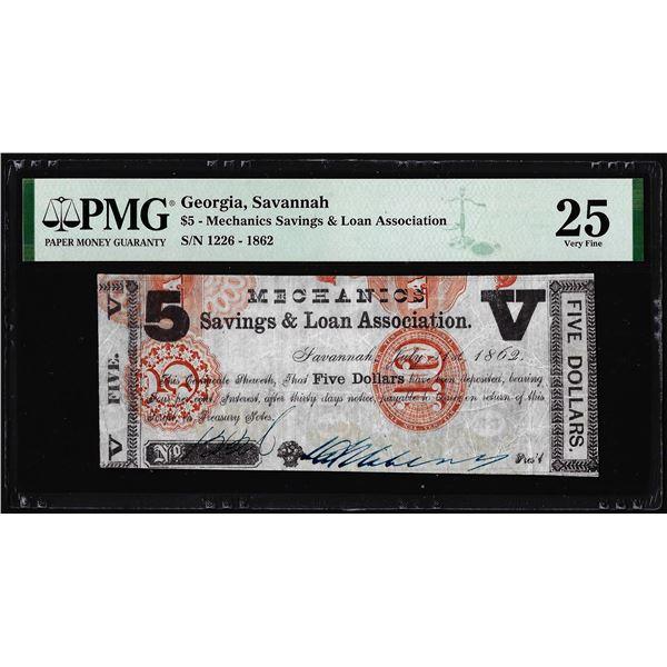 1862 $5 Mechanics Savings & Loan Savannah, GA Obsolete Note PMG Very Fine 25