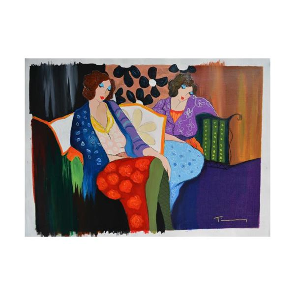 "Tarkay (1935-2012) ""Brief Respite"" Original Mixed Media On Canvas"