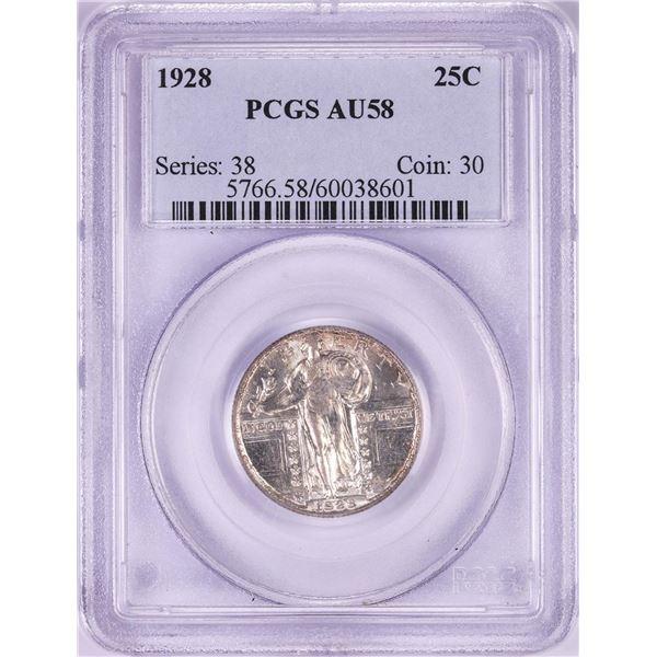 1927 Standing Liberty Quarter Coin PCGS AU58