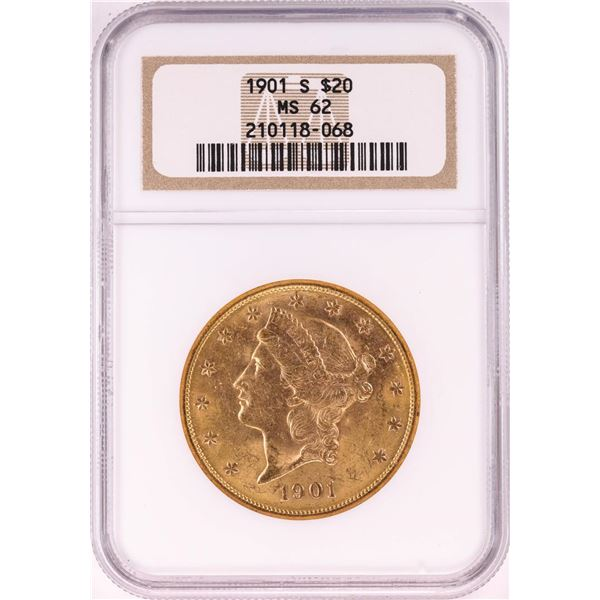 1901-S $20 Liberty Head Double Eagle Gold Coin NGC MS62