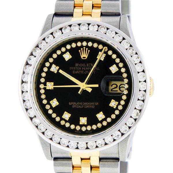 Rolex Men's Two Tone Black VS 3CTW Channel Set Diamond Datejust Wristwatch