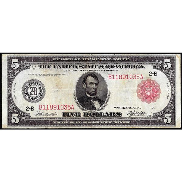 1914 $5 Federal Reserve Note New York Red Seal