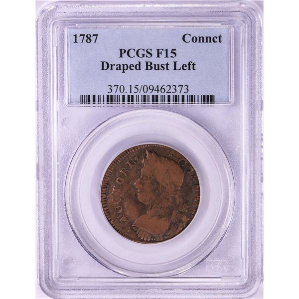 1787 Connecticut Draped Bust Left Colonial Copper Coin PCGS F15