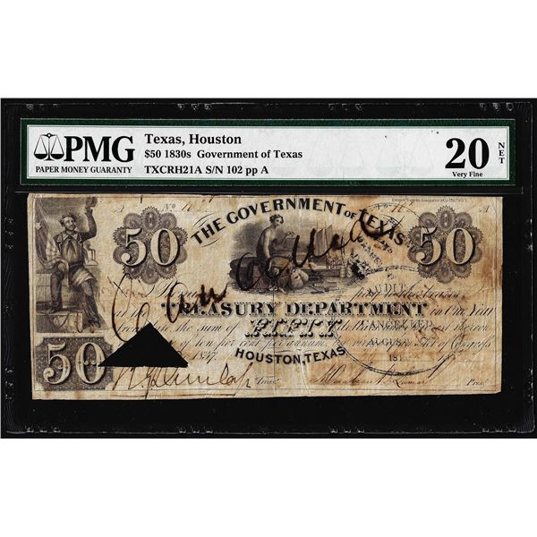 1830's $50 Government of Texas Obsolete Note TXCRH21A PMG Very Fine 20 Net