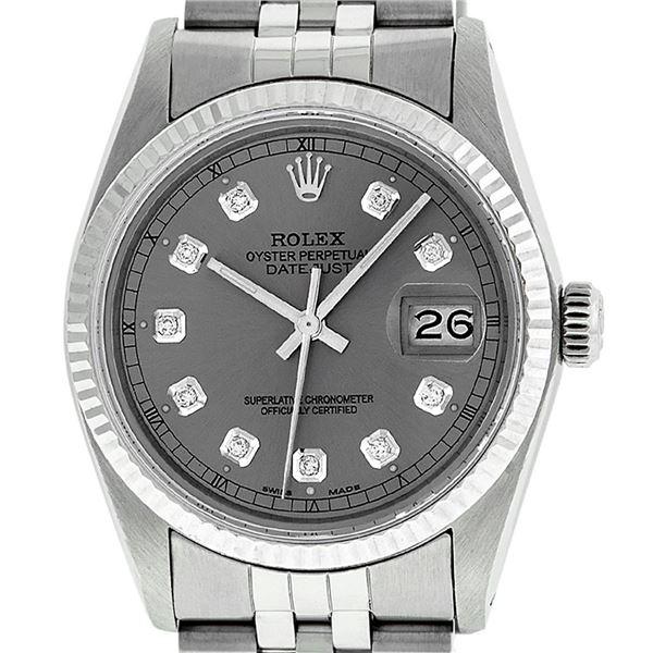 Rolex Stainless Slate Grey Diamond Oyster Perpetual Datejust Wristwatch