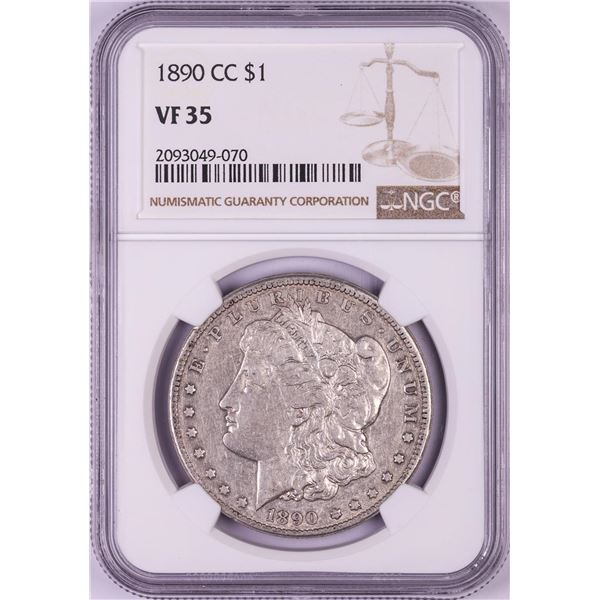1890-CC $1 Morgan Silver Dollar Coin NGC VF35