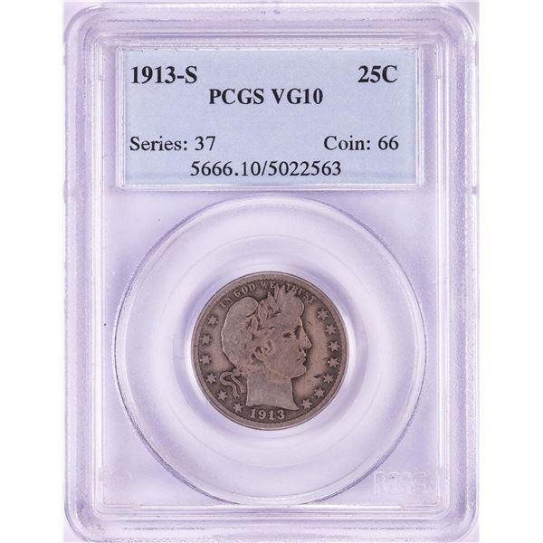 1913-S Barber Quarter Coin PCGS VG10