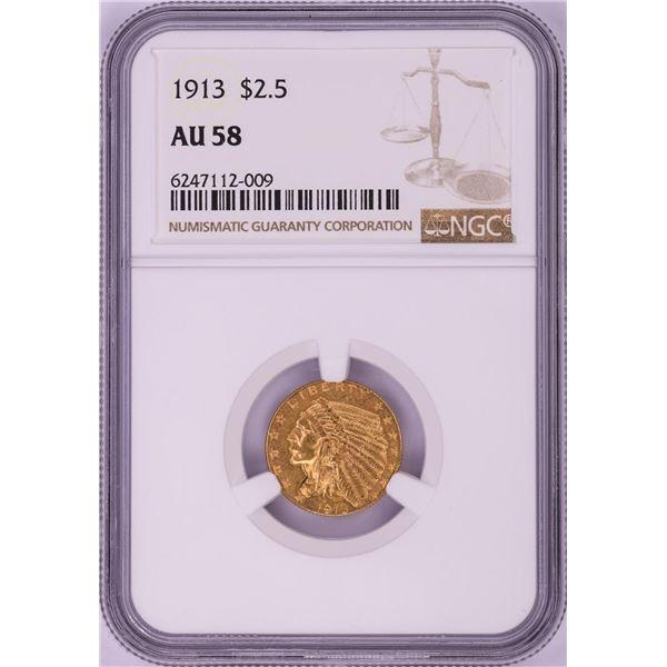 1913 $2 1/2 Indian Head Quarter Eagle Gold Coin NGC AU58
