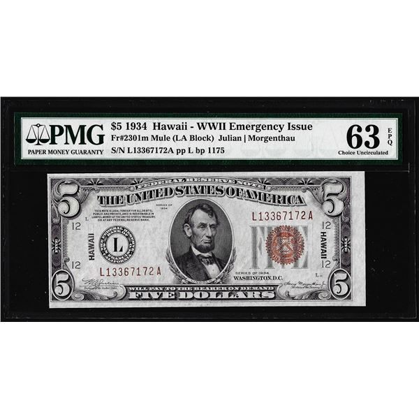 1934 $5 Hawaii WWII Emergency Issue Federal Reserve Note PMG Choice Uncirculated 63EPQ