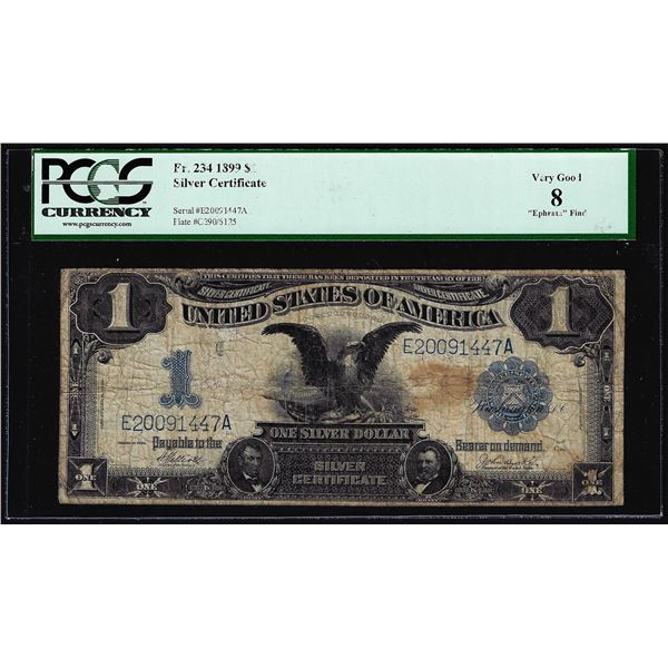 1899 $1 Black Eagle Silver Certificate Note Fr.234 PCGS Very Good 8
