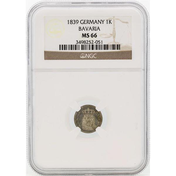 1839 Germany Kreuzer Coin NGC MS66