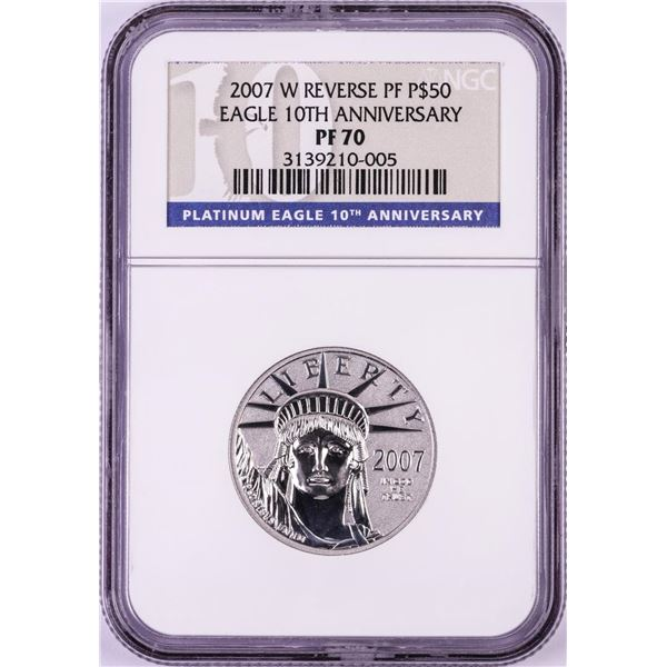 2007-W $50 Reverse Proof Platinum American Eagle Coin NGC PF70