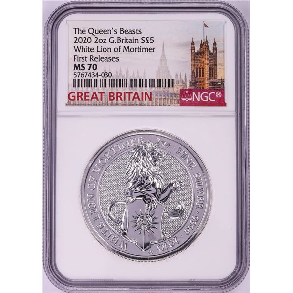2020 Great Britain 5 Pounds The Queen's Beasts 2oz Silver Coin NGC MS70 First Releases