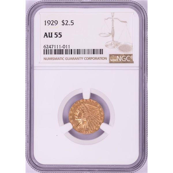 1929 $2 1/2 Indian Head Quarter Eagle Gold Coin NGC AU55