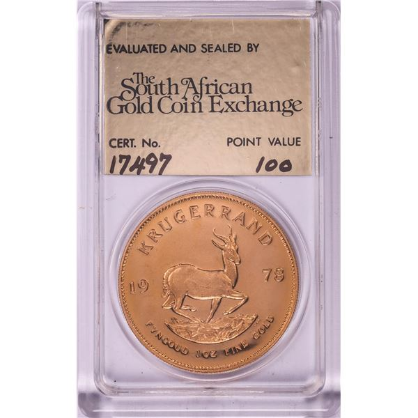 1978 Proof South Africa 1oz Krugerrand Gold Coin w/COA