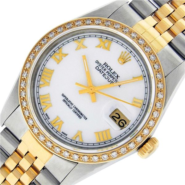 Rolex Men's Two Tone Mother Of Pearl Diamond Datejust Wristwatch