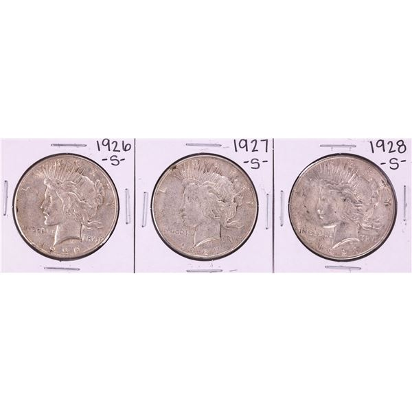Lot of 1926-S to 1928-S $1 Peace Silver Dollar Coins
