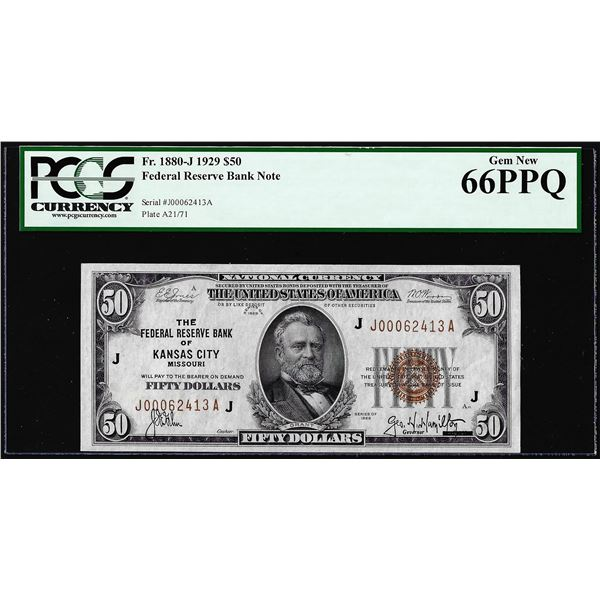 1929 $50 Federal Reserve Bank Note Kansas City Fr.1880-J PCGS Gem New 66PPQ