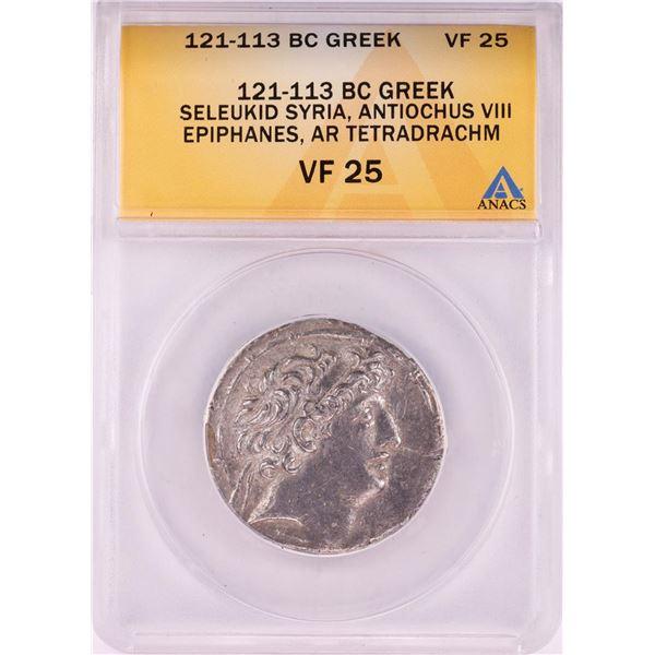 121-113 BC Ancient Greek Seleukid Syria Antiochus VIII Epiphanes Tetradrachm ANACS VF25
