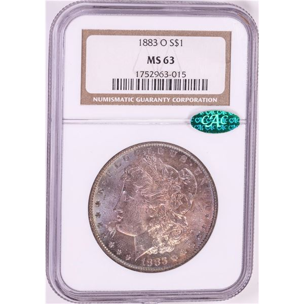 1883-O $1 Morgan Silver Dollar Coin NGC MS63 CAC Amazing Toning