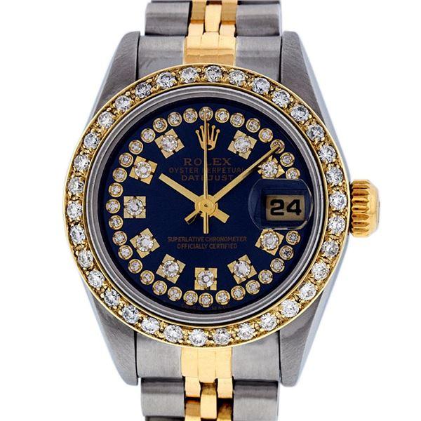 Rolex Ladies Two Tone Blue Diamond Quickset Oyster Perpetual Datejust Wristwatch
