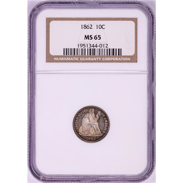 1862 Seated Liberty Dime Coin NGC MS65