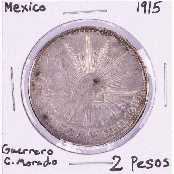 1915 Mexico Guerrero Campo Morado 2 Pesos Silver Coin