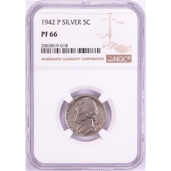1942-P Proof Jefferson Silver Nickel Coin NGC PF66