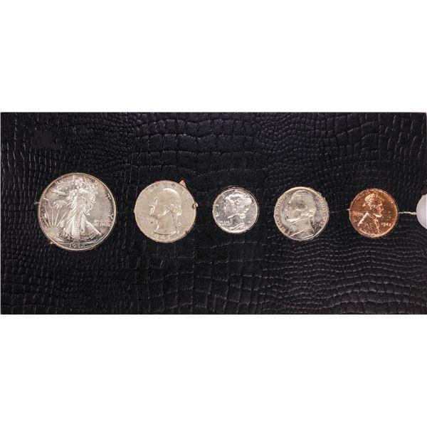 1942 (5) Coin Proof Set In Old Slide Holder