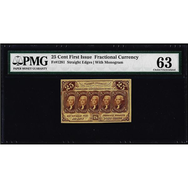 1862 First Issue 25 Cent Fractional Currency Note Fr.1281 PMG Choice Uncirculated 63