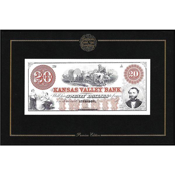 1994 American Bank Note Company Intaglio Print The Kansas Valley Bank Atchison, KS