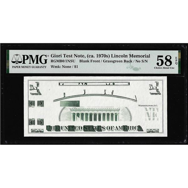 Circa 1970's Lincoln Memorial Giori Test Note PMG Choice About Uncirculated 58EPQ
