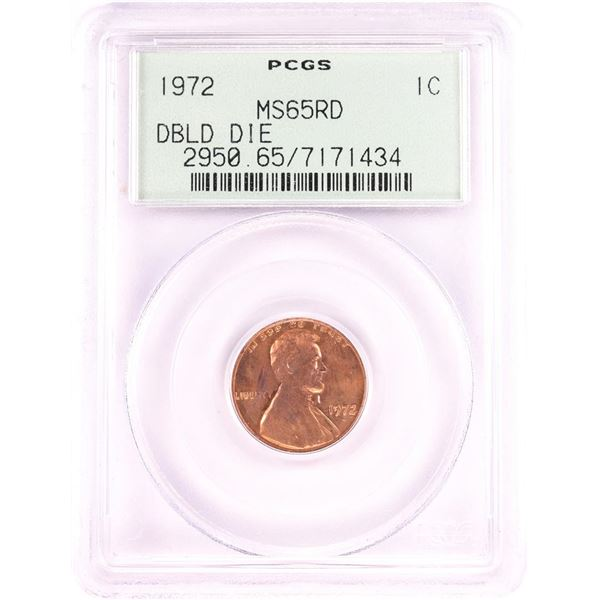1972 Doubled Die Obverse Lincoln Memorial Cent Error Coin PCGS MS65RD Old Green Holder