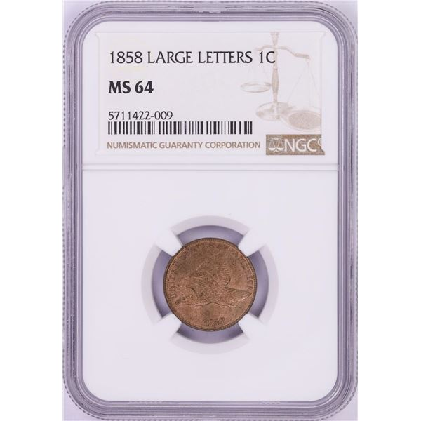1858 Large Letters Flying Eagle Cent Coin NGC MS64