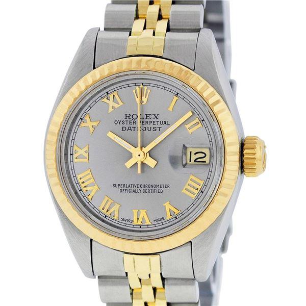 Rolex Ladies Two Tone Steel & Gold Slate Grey Roman Datejust Wristwatch