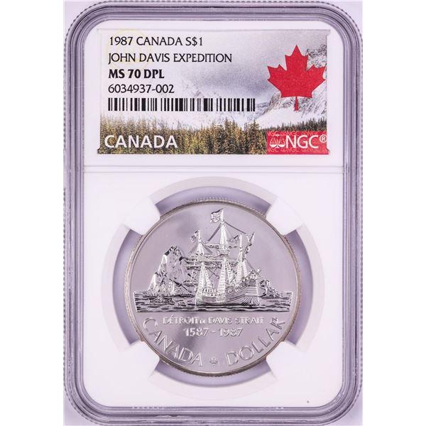 1987 $1 Canada John Davis Expedition Silver Dollar Coin NGC MS70 DPL