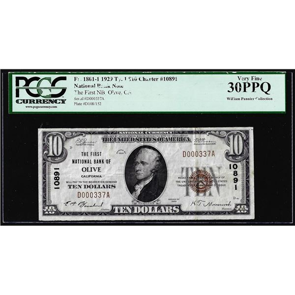 1929 $10 First NB of Olive, CA CH#10891 National Currency Note PCGS Very Fine 30PPQ