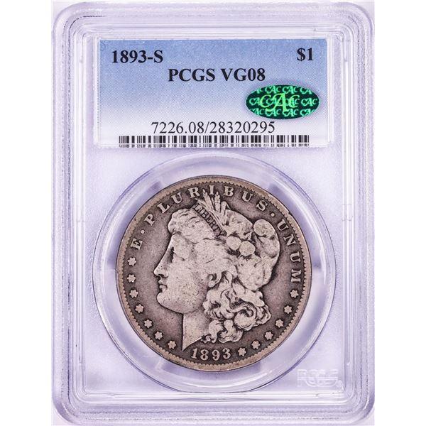 1893-S $1 Morgan Silver Dollar Coin PCGS VG08 CAC