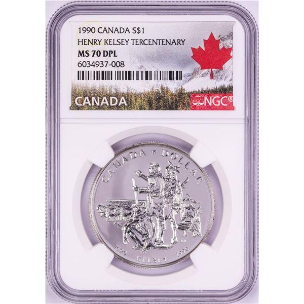 1990 $1 Canada Henry Kelsey Tercentenary Silver Dollar Coin NGC MS70 DPL